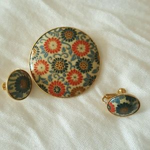 Antique C Jewelry Set Brooch Pendant and Earring