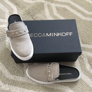 Rebecca Minkoff taupe suede sneaker slides