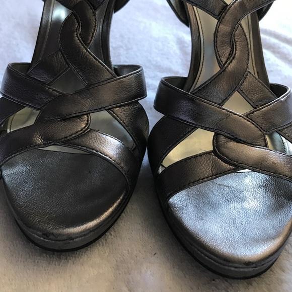 Calvin Klein Shoes - Calvin Klein silver straps heels.