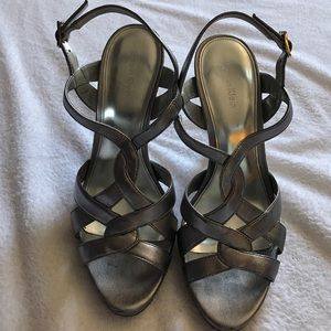 Calvin Klein silver straps heels.
