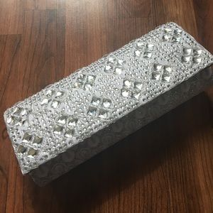 Silver Sparkly Clutch Purse