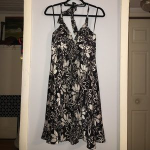 Halter black dress with white flowers