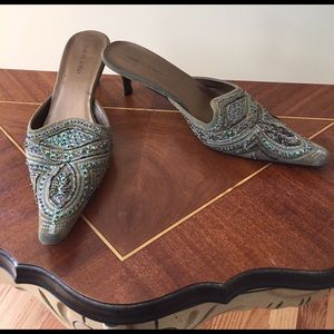 Charles Albert Shoes - Charles Albert Beaded Green Boho Mules Size 9