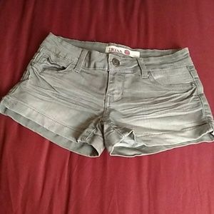 1st Kiss Pants - 1st Kiss Gray Shorts with Clear Sequin Pockets