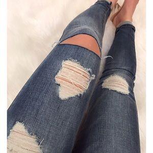 NEW • Medium Wash Distressed Jeans