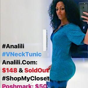 Analili Tops - 🚨LAST🚨 Analili VNeck Tunic Top Dress Teal Blue