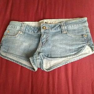 Wet Seal Pants - Wet Seal Super Short Denim Jeweled Shorts