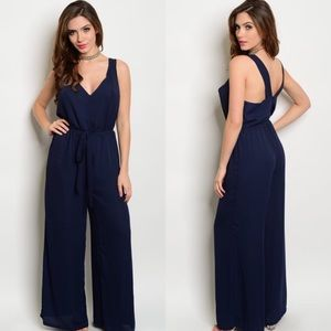 The O Boutique Pants - Navy Blue Sleeveless Belted Jumpsuit