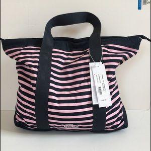 Lacoste Handbags - BNWT LACOSTE navy pink striped beach bag rite