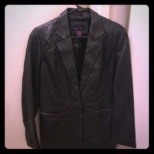 Denim & Co Jackets & Blazers - DENIM & CO ONE BUTTON BLACK LEATHER JACKET