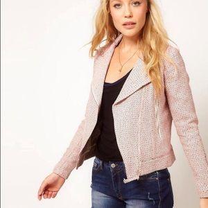 Mango Jackets & Blazers - Pink Wool Biker Jacket