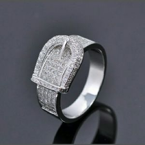 Jewelry - Stunning Silver Buckle Ring w/ White Sapphire NWT