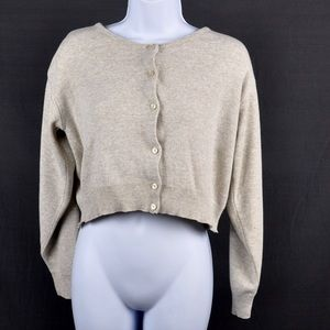 It's Our Time Sweaters - It's Our Time Oatmeal Cropped Cardigan Size Small