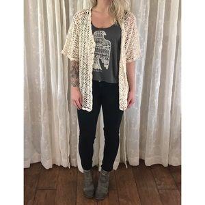 Sweaters - Ivory Open Knit Crochet Cardigan