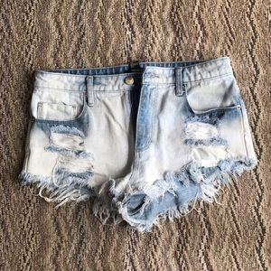 Forever 21 Pants - Distressed High Waisted Denim Shorts