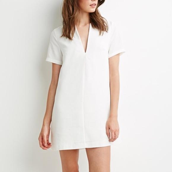 f55f793a16 Forever 21 Dresses   Skirts - 🆕  Forever 21  • white v-neck