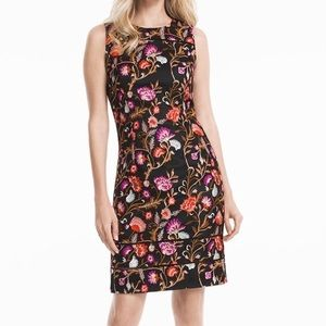 WHBM EMBROIDERED FLORAL SHEATH DRESS