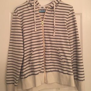 Blue and cream striped hoodie