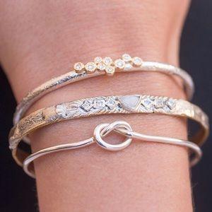 """Tie The Knot"" Silver Cuff Bangle Love Bracelet"