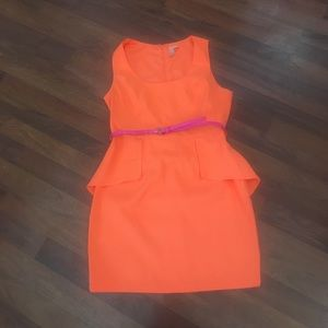 Orange Peplum Dress - Worn Once - Size L