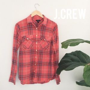 EUC J.Crew boyfriend shirt in cerise plaid