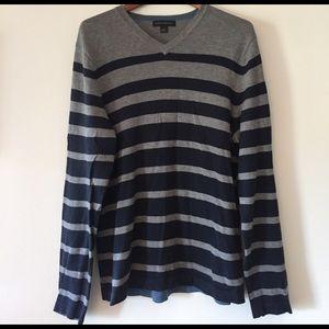 Banana Republic Striped Gray-Blue Sweater