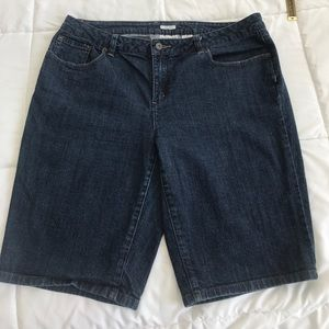 Liz Claiborne stretch 16 dark wash jeans shorts