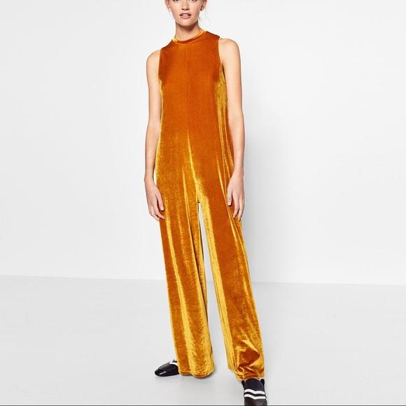 3f212323 Zara mustard color velvet jumpsuit-- medium NWT