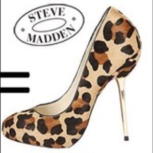 Steve Madden Myley real fur leopard print heels 7