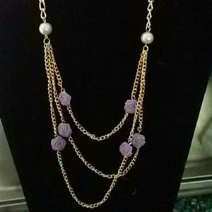 Goldtone necklace with lavender roses.