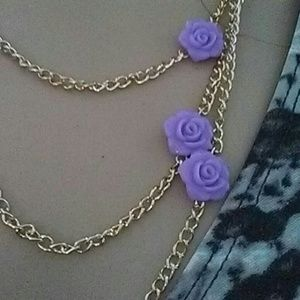 Accessories - Goldtone necklace with lavender roses.
