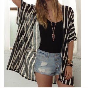 Tops - Black White Stripe Transparent Kimono Vest