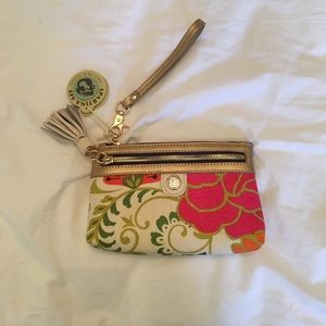 Spartina 449 Handbags - Leather and cotton floral wristlet