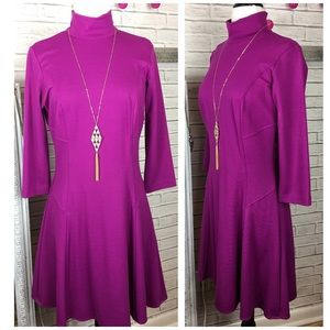 Amanda Uprichard Dresses & Skirts - Amanda Uprichard Fuschia Mock Neck Flare Dress