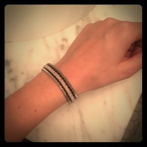 Lord & Taylor Jewelry - Silver/leather bracelet