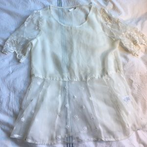 Frenchi Tops - Frenchi sheer embroidered white top