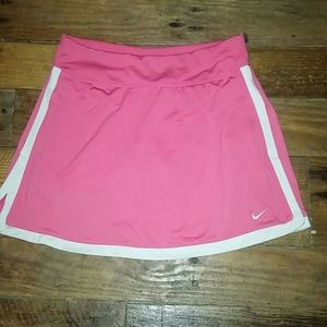 NIKE FIT DRY TENNIS SKIRT WITH SHORTS PINK & WHT