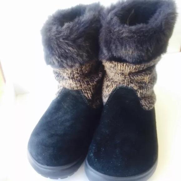 199e1daff CROCS Shoes - Crocs Size 6 Crocs Boots Faux Fur Brown Black Knit