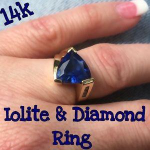 Fine Jewelry Jewelry - 14k Estate Iolite & Diamond Custom Designed Ring