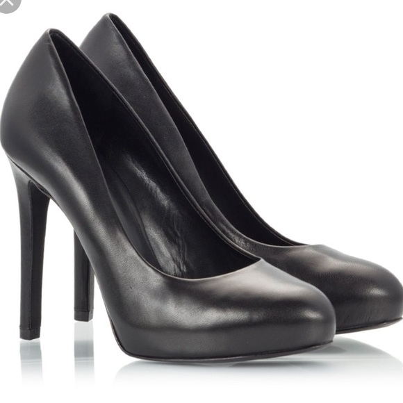3780248a5d7 ASH BIANCA black leather high heel platform pumps