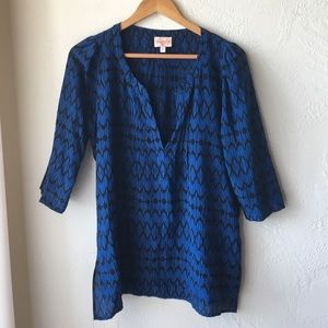 Plenty by Tracey Reese blue & black blouse