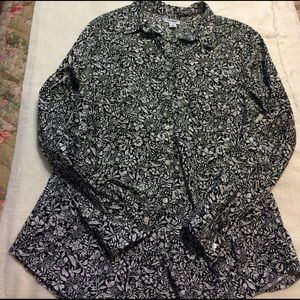 Floral Cotton Button Down Blouse SZ L old Navy