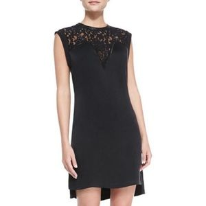 NWOT leather and lace shift dress