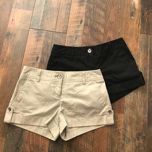 2 Express Shorts, Size 2, Black & Khaki