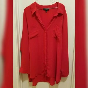 Lane Bryant Red Button Up Blouse with Split Back