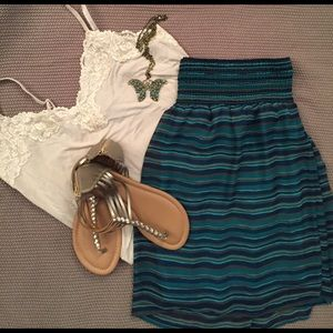 Blue/teal striped skirt.