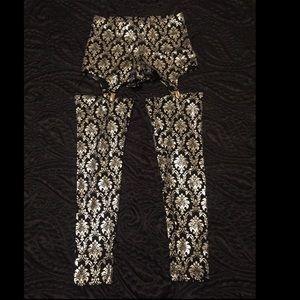 Blackmilk Pants - BlackMilk Clothing Silver Foil Wallpaper Leggings