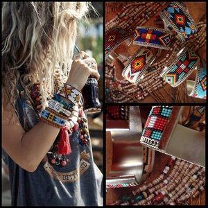 TillieCreek Jewelry - Bohemian Chic Southwestern Beaded Metal Cuff