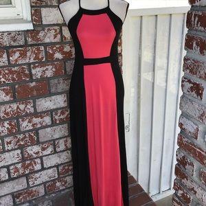 Monteau Dresses & Skirts - Bare back coral/black maxi dress
