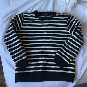 APC Tops - APC striped cotton-jersey sweatshirt